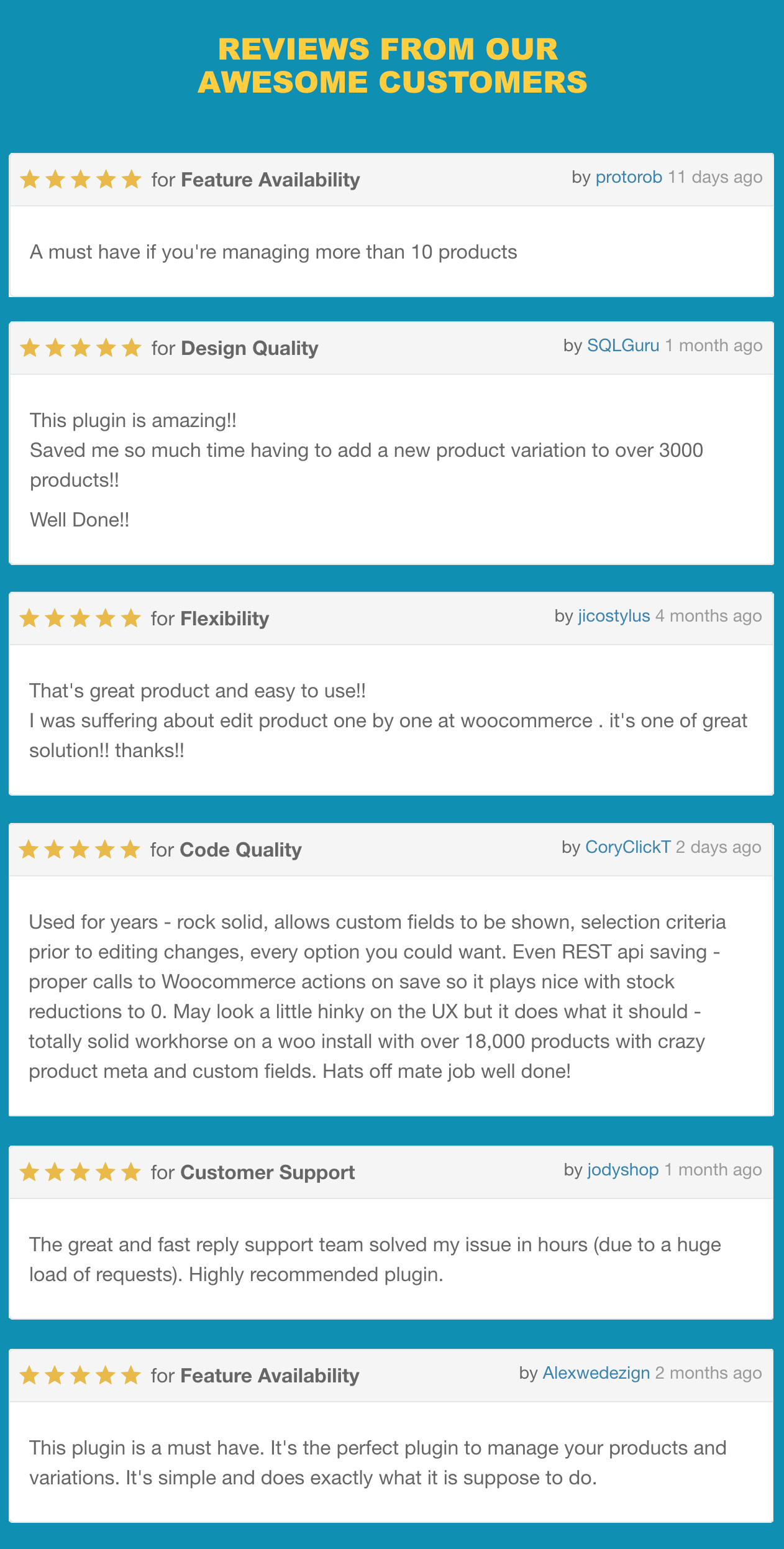 WooCommerce Advanced Bulk Edit, Reviews from our awesome customers